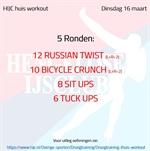 Workout dinsdag 16 maart