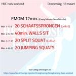 Workout donderdag 18 maart
